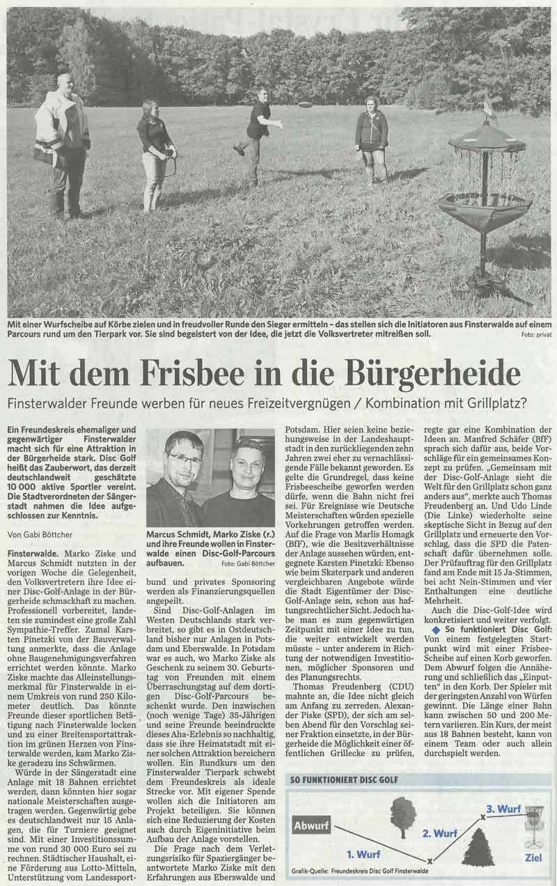 disc-golf-finsterwalde_Lausitzer-Rundschau-ganzer-Beitrag